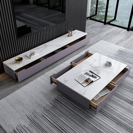 Kệ Tivi Tủ tivi kết hợp bàn cà phê ánh sáng sang trọng căn hộ nhỏ gia đình đặt đá cẩm thạch phòng kh