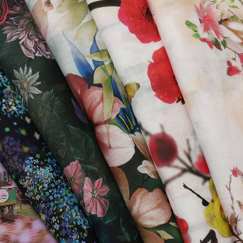 Ramie digital printing fabric Spring and summer dress apparel fabric All ramie cotton and linen prin