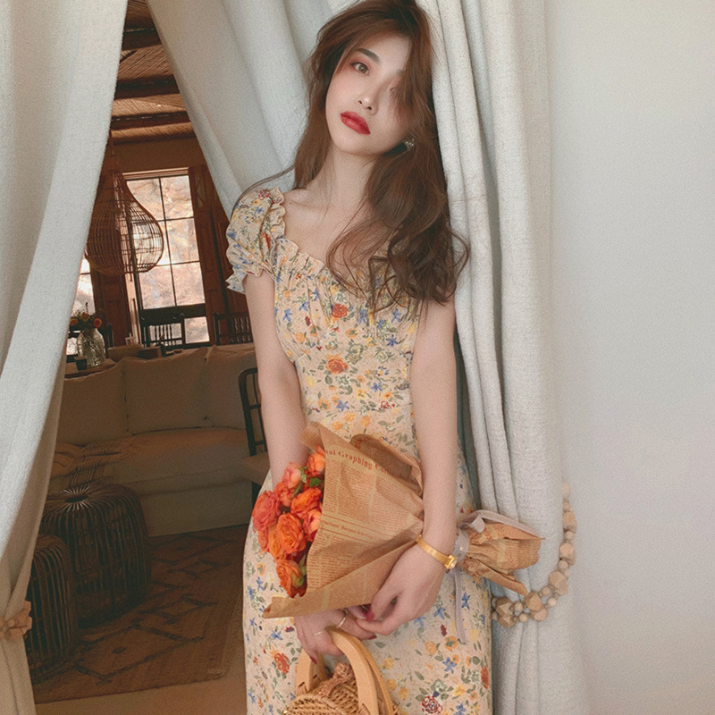SHIZHIMEI 2020 summer new oil painting chiffon floral dress V-neck French skirt waist printed A-line