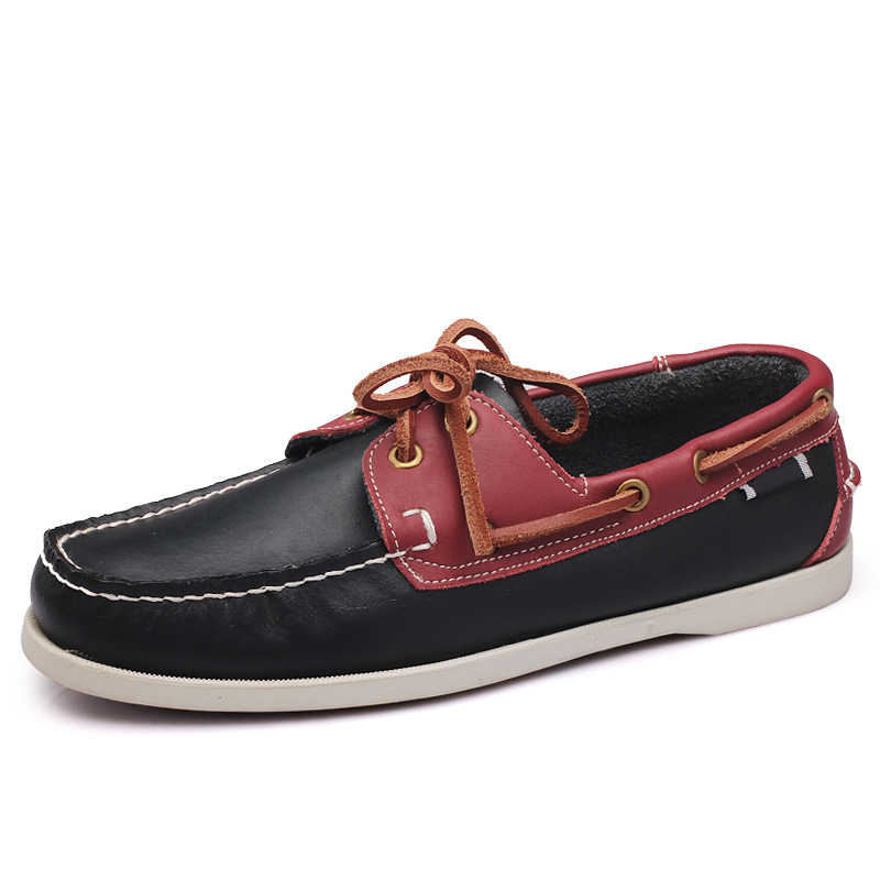 Large sailing shoes men's casual shoes real leather shoes British driving single shoes men