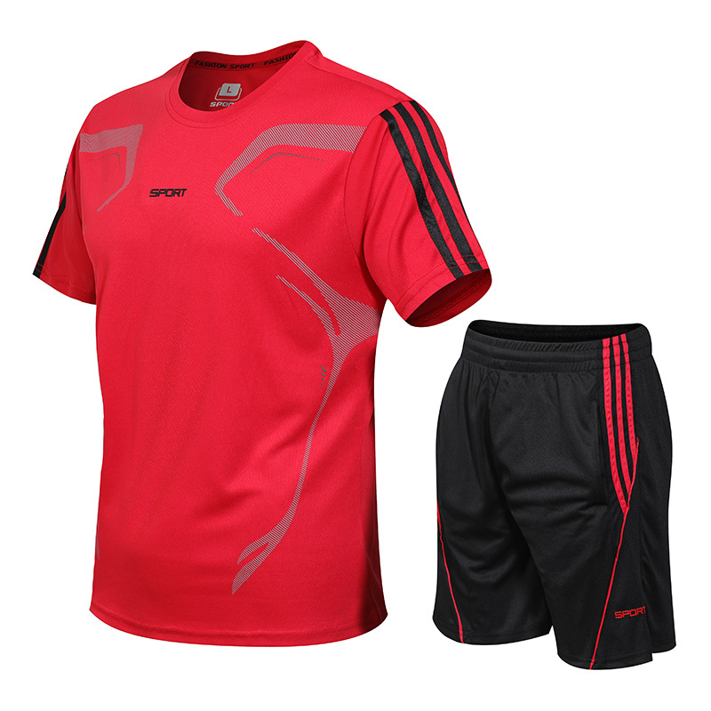 Gym sports suit men's quick-drying clothing casual football running training clothing short-sleeved