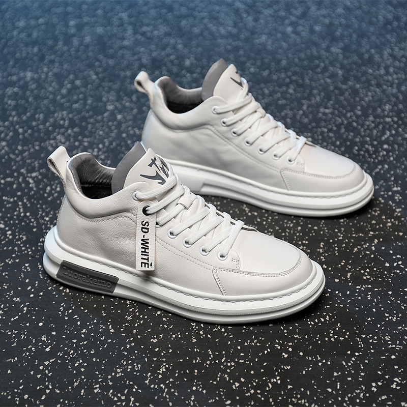 JIESHISHA Sports shoes high-top casual sneakers men's leather white shoes men's hot style 2020 aut