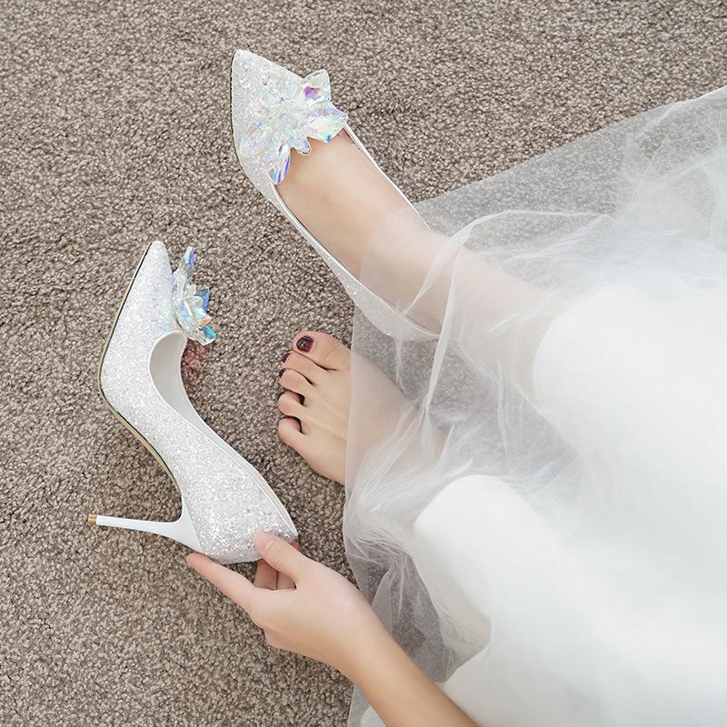ANNAILI Wedding shoes women 2020 new crystal stiletto silver pointed high heels sequined white weddi