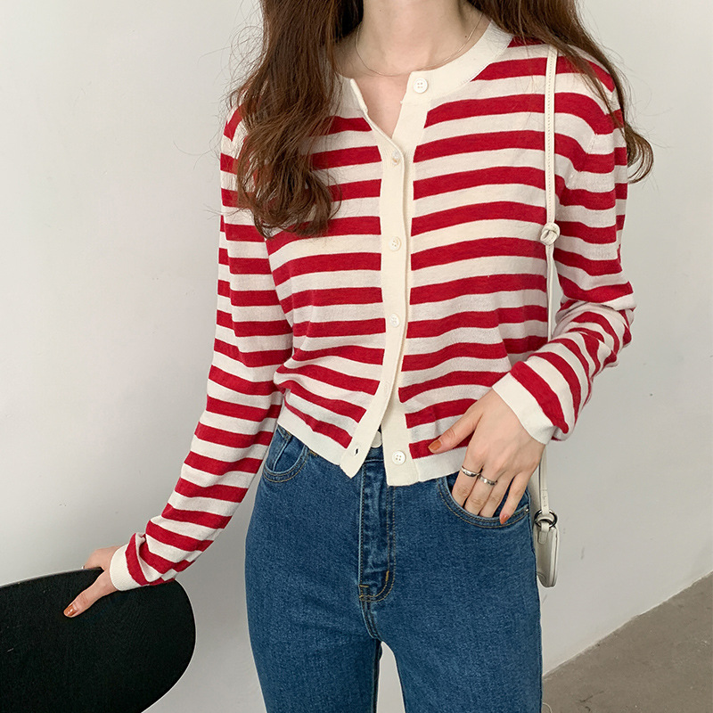 TG thin long-sleeved striped sweater women 2020 autumn new style Korean round neck casual cardigan t