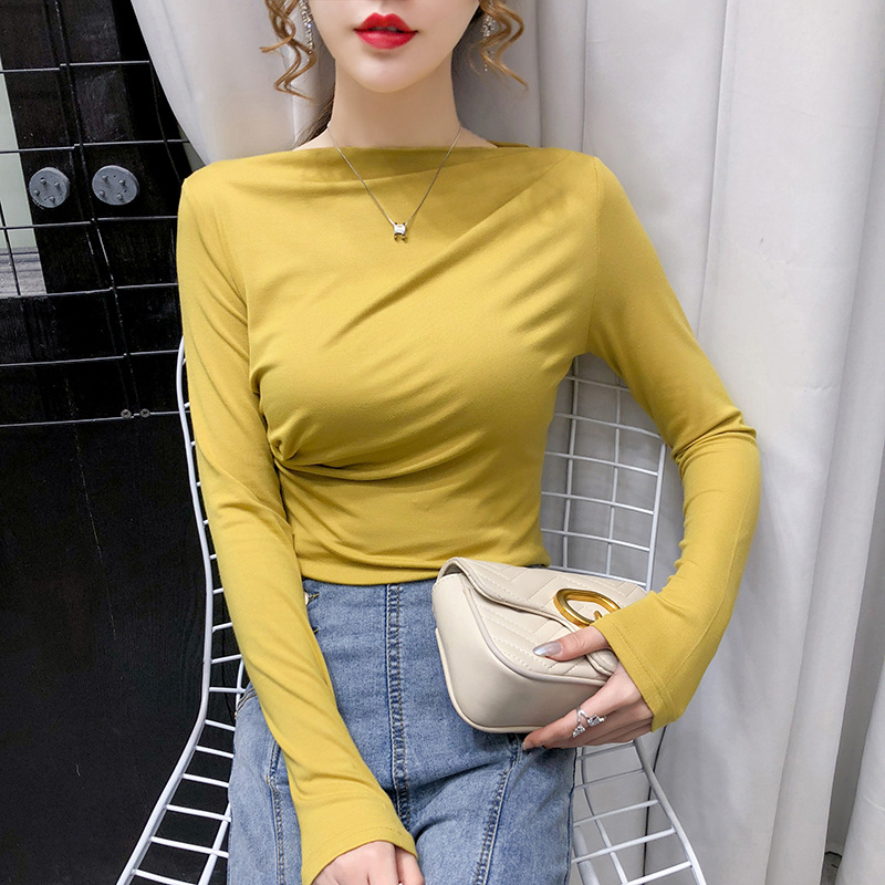 Fall 2020 new women's open collarbone one line collar top pleated bottomed shirt solid color T-shir