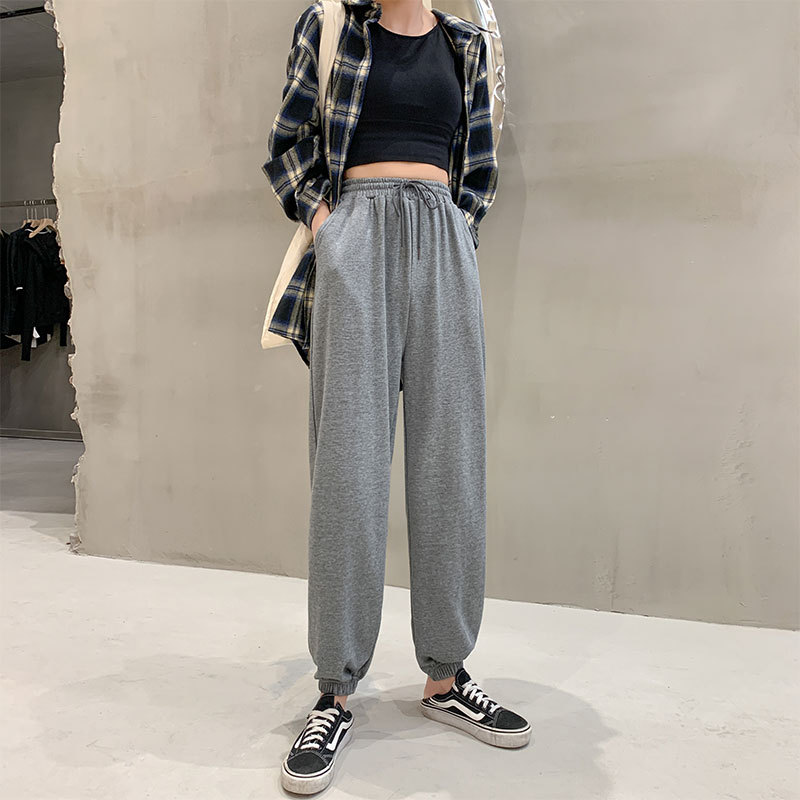 Gray sweatpants women's loose autumn and winter new high waist slimming casual pants 2020 Korean ve