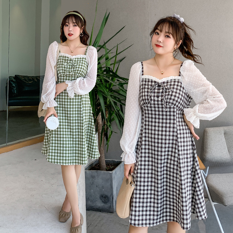 Large women's Chiffon Plaid 2020 autumn new 200 kg oversized dress