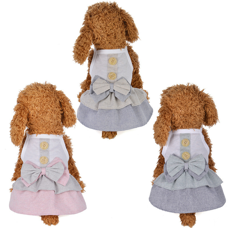 XQCE Leisure pet clothes spring and summer British button skirt dog clothes pet clothing supplies