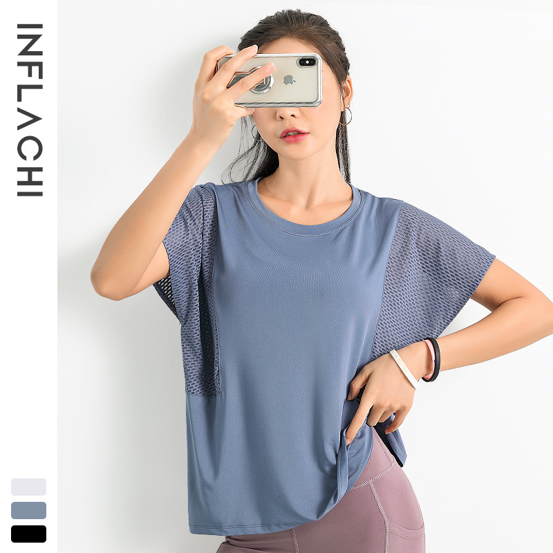 New sports fitness T-shirt women's summer slim round neck short sleeve Yoga quick dry mesh breathab