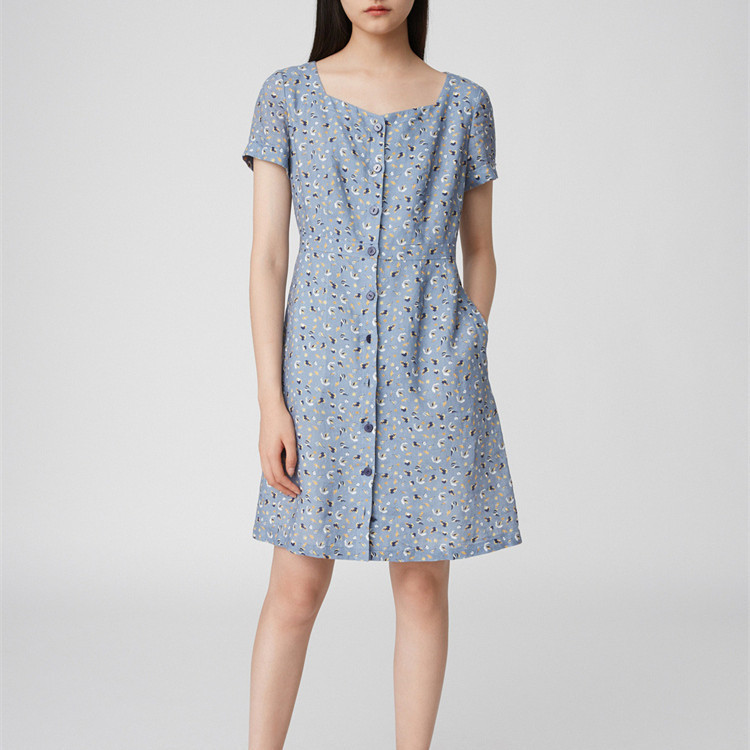 Ramie print dress fashion women's summer season new style 2020 generation hair square collar skirt