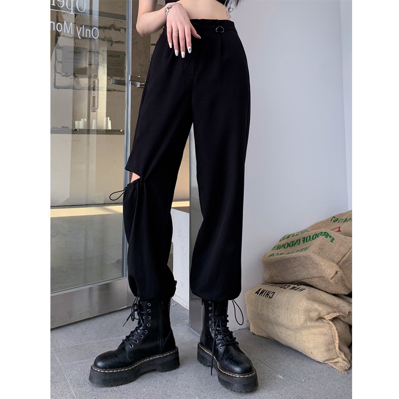 Ripped casual pants women's 2020 summer new loose and thin black straight leggings overalls