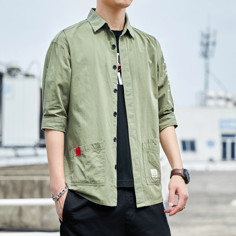 2020 summer men's 7 / 4 Sleeve Shirt ins trend youth pure cotton loose shirt casual work clothes sh