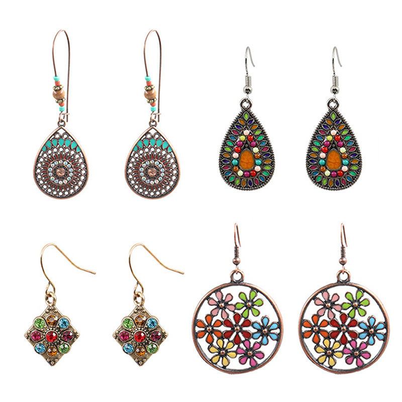 HANQI European and American fashion hollow alloy earrings set retro color earrings with diamond flow