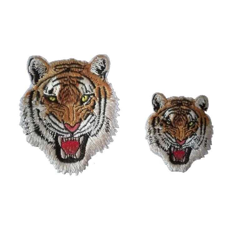 SHENGTONG Tiger's head cloth sticking back glue embroidery badge cartoon image badge clothing decor