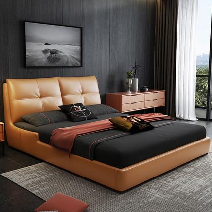 giường  [Độc quyền lúc 8 giờ] Âu Á Âu Á Royal Nest Nordic Light Luxury Bed Da Giường ngủ bọc da Đơn