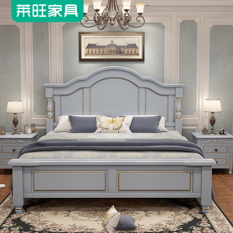 LAIWANG American solid wood bed 1.8m storage furniture master bedroom Princess twin 1.5m bed modern