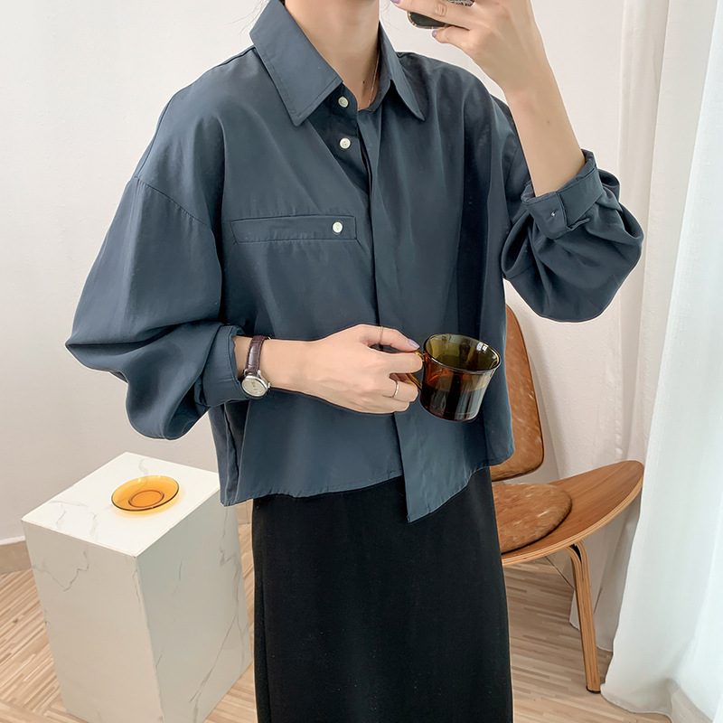 Juzhi 2020 autumn work clothes women simple Lapel solid short long sleeve shirt BF loose thin top