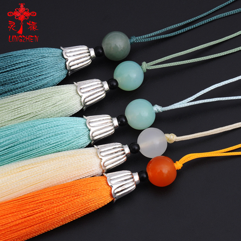 LINGZHEN Metal tassels polyester superfine silk Chinese tassel Han costume ancient costume sachet ha