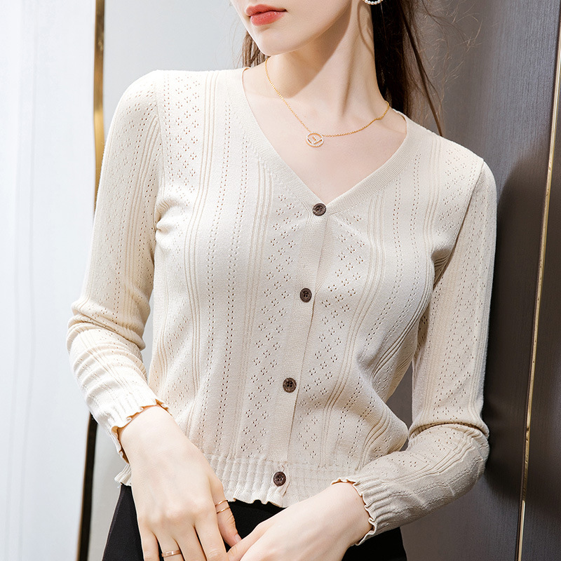 DANYU Knitted thin blouse women gentle wind 2020 spring and autumn new wood ears short hollow v-neck