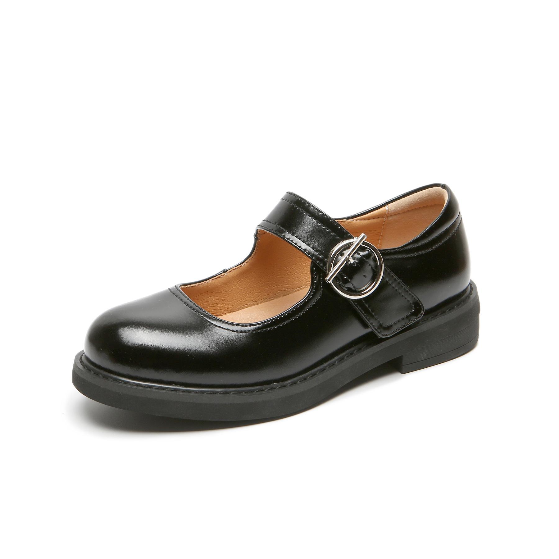 Giày da nữ Lolita Velcro kiểu dáng đơn giản .