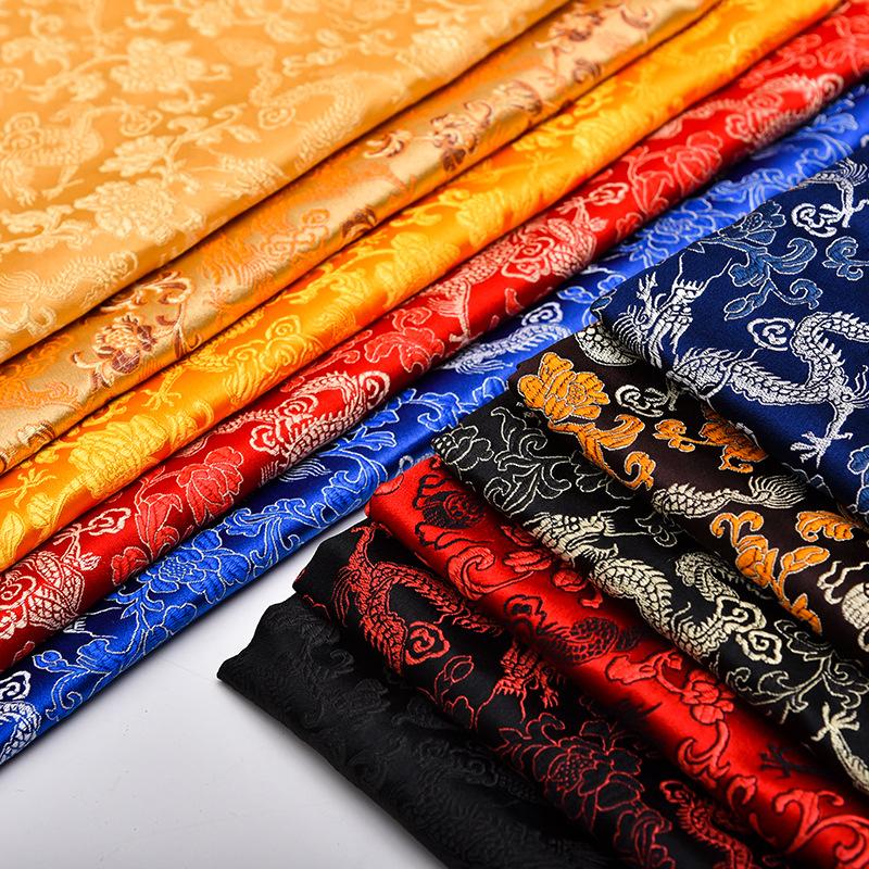 SHIYIJIA Imitation silk three-five brocade sofa cushion pillow silk fabric Hanfu silk satin health s