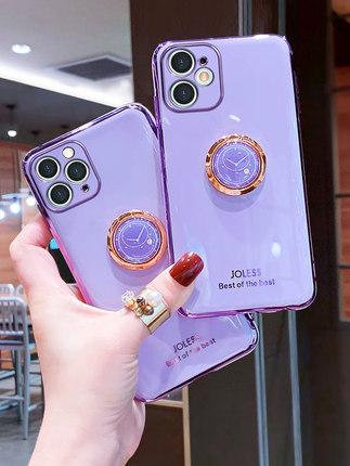 bao da điện thoại Vỏ điện thoại di động Apple 11 vỏ đồng hồ sáng tạo giá đỡ nhẫn iphone11 bảo vệ tr