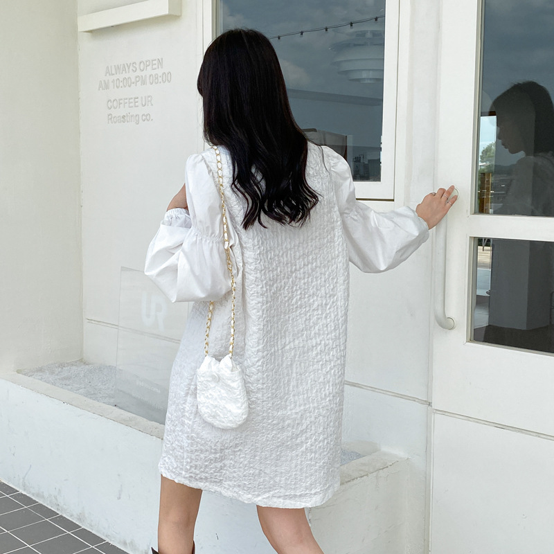 APXIVI White dress 2020 autumn French texture lamb leg sleeves slim mid-length skirt DX554