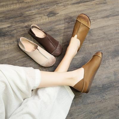 Giày bệt Da khâu bằng tay kiểu dáng retro công sở cho nữ