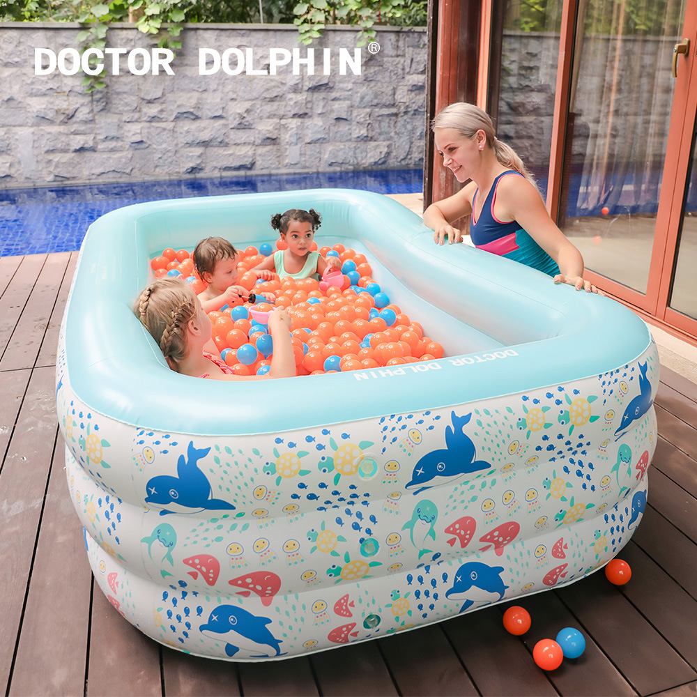 Doctor dolphin inflatable pool children's play pool double / triple baby swimming pool I baby wave