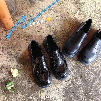 Giày lười Giày da phong cách Anh retro màu đen