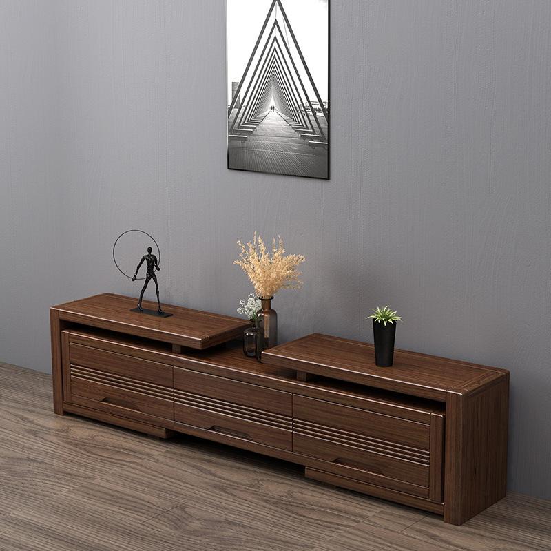 Retractable solid wood TV cabinet combination living room furniture retractable solid wood combinati