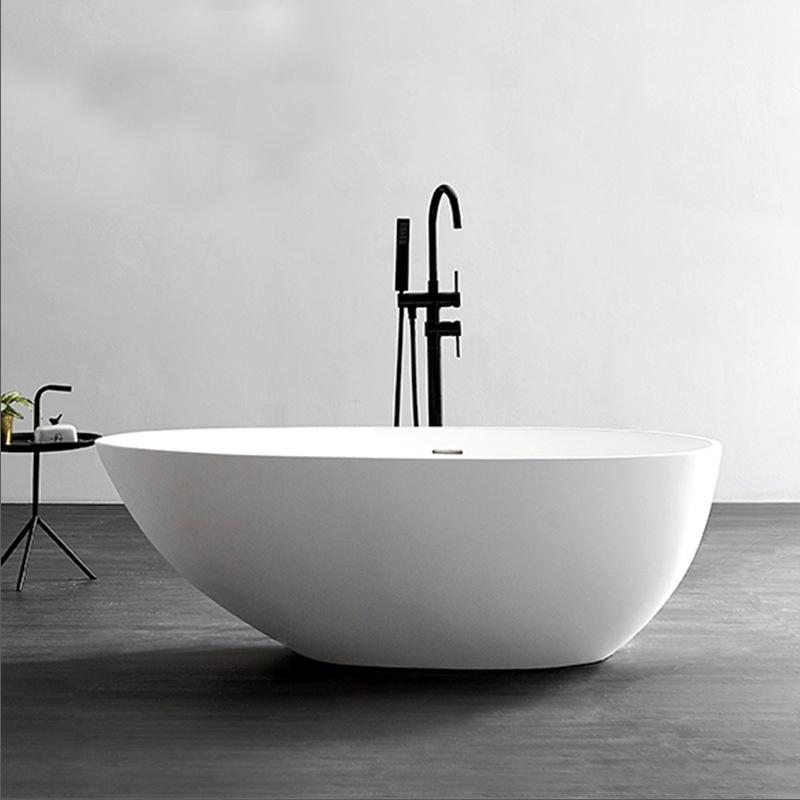 Bồn tắm đá nhân tạo màu trắng kiểu bầu dục đơn giản .
