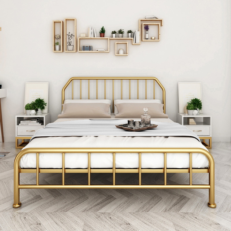 Nordic wrought iron double bed simple home bedroom wrought iron bed hotel apartment 1.5 m 1.8 m iron