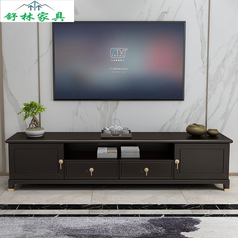 New Chinese solid wood TV cabinet modern simple living room suite combination 2m multi-functional re