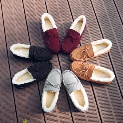 Giày mọi vải da lộn lót nhung giữ ấm dành cho nữ .