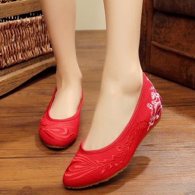 SUJUNZHU Giày cô dâu Giày vải Bắc Kinh xuân mới 2018, giày thêu, tăng chiều cao và hạ thấp, bọc mũi