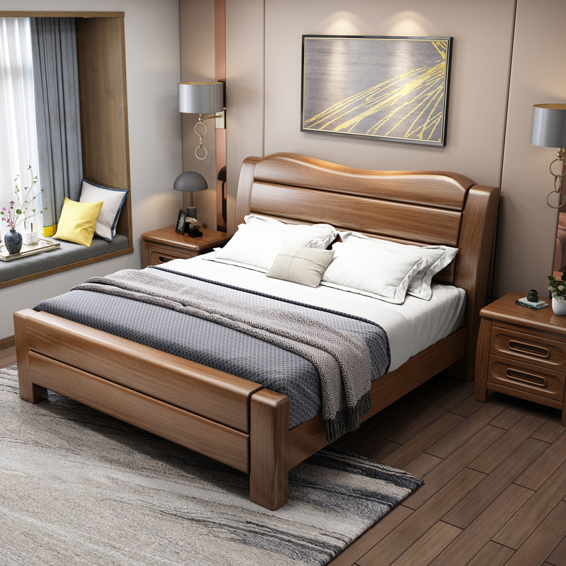 ZHIJU Solid wood bed Chinese walnut bed manufacturer direct selling 1.8m double bed drawer environme