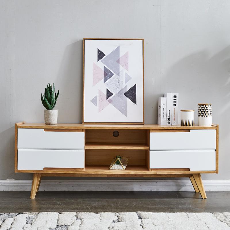 SMXZ Bishang Nordic solid wood TV cabinet living room small family furniture 1.5m rectangular wood c