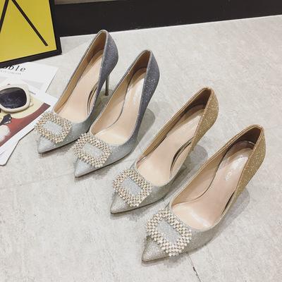 AINER-CAT Giày cô dâu 9268 Amazon vi cung cấp gradient màu rhinestone bông tuyết khóa giày cao gót n