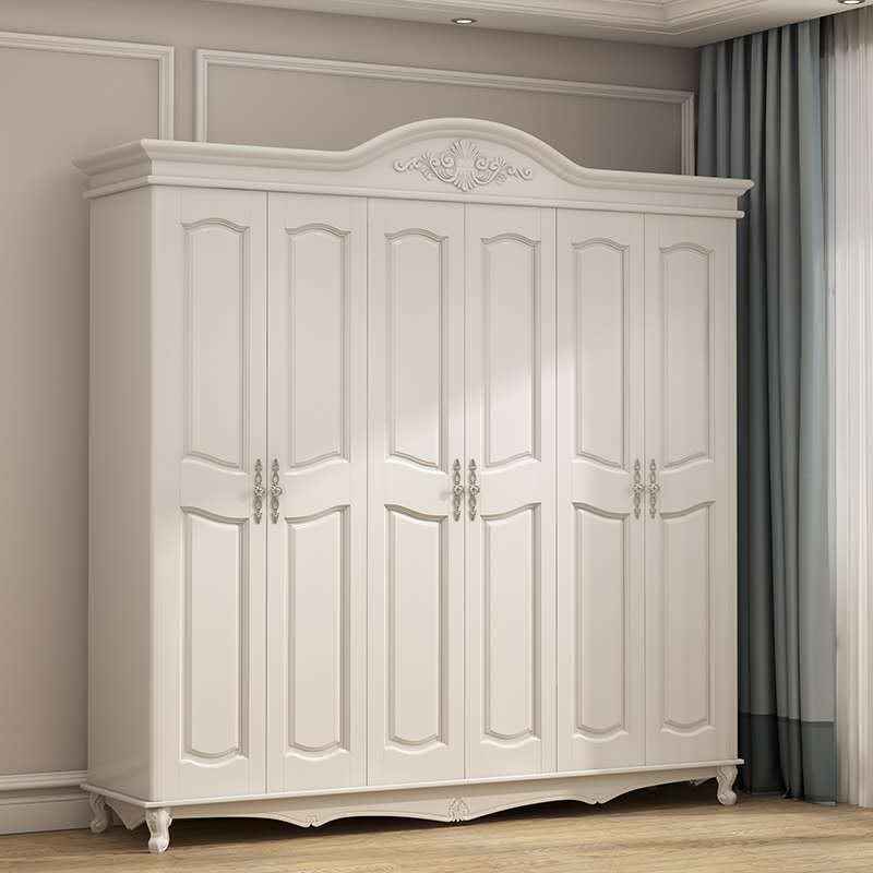 QHYJ American style wardrobe six door simple economical wooden bedroom furniture assembly embossed o