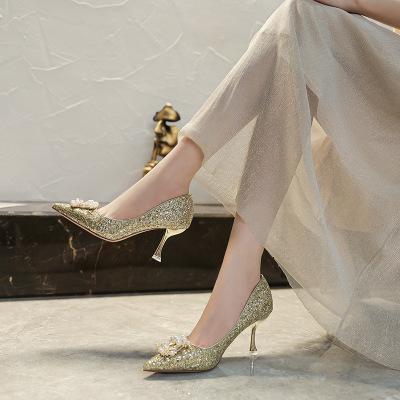 SUFEIFEI Giày cô dâu 191-8 Phiên bản Hàn Quốc của giày đơn nữ mới mùa thu 2020 giày cao gót mũi nhọn