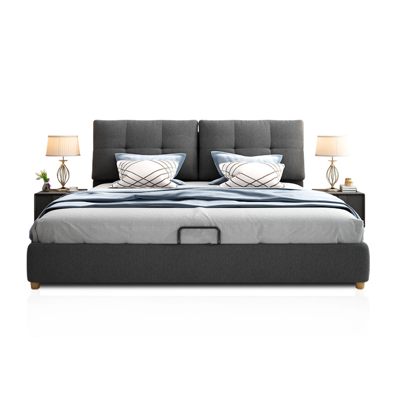 WOMEILONG Cotton and linen fabric bed simple Nordic removable and washable double bed 1.8 meters 1.5