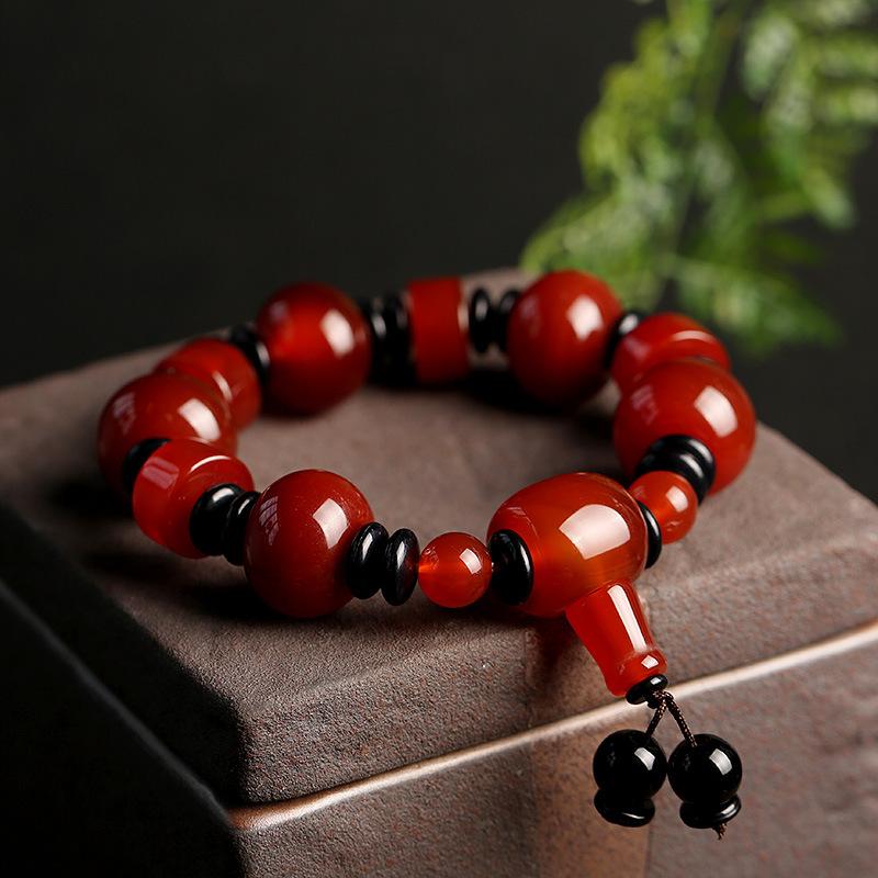 FEIYI Natural Tibetan old agate bracelet single circle men's Buddha beads ethnic wind drum beads ag