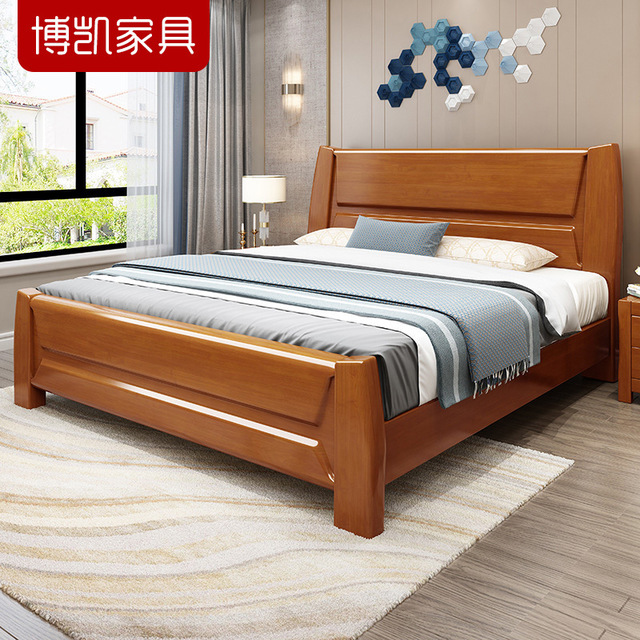 Solid wood bed oak with drawer single 1.5m Princess 1.8m bed storage double bed all solid wood furni