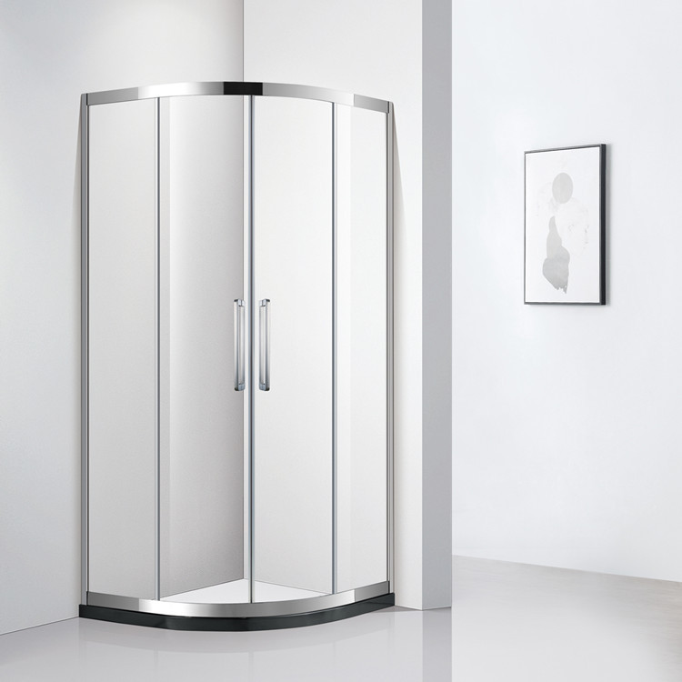 WOMEI Stainless steel shower room Tempered glass double sliding door for bathroom Arc fan-shaped sho