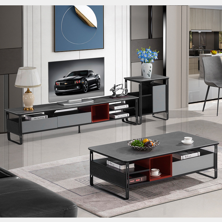 YAXU Italian style extremely simple rock plate tea table TV cabinet combination living room large an