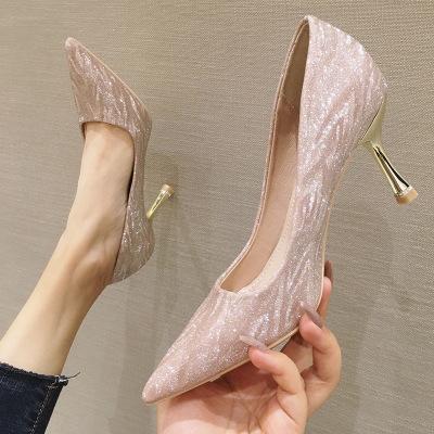 michalovce Giày cô dâu Giày cao gót phụ nữ 2020 mới mùa hè sexy cô gái mũi nhọn champagne bạc phù dâ