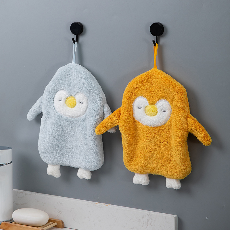 XINYOU Hanging towel towel water absorption towel cute cartoon not to lose hair thickened household