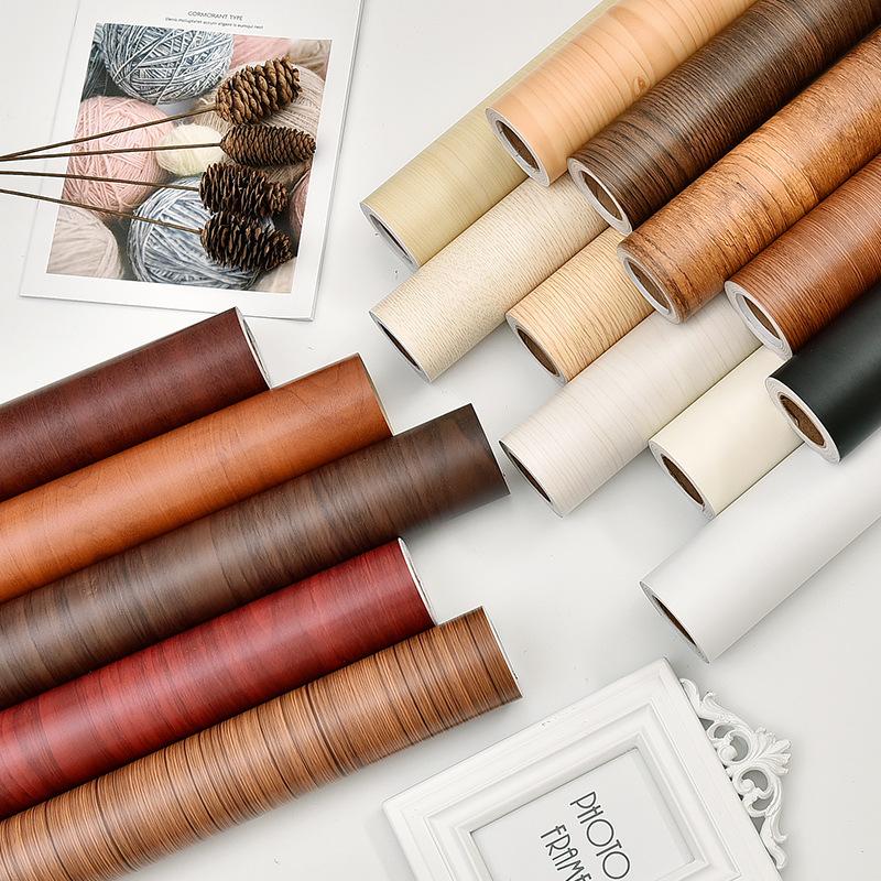 YUETE Thickened Waterproof PVC wood grain sticker Boeing film self adhesive wallpaper wardrobe cabin