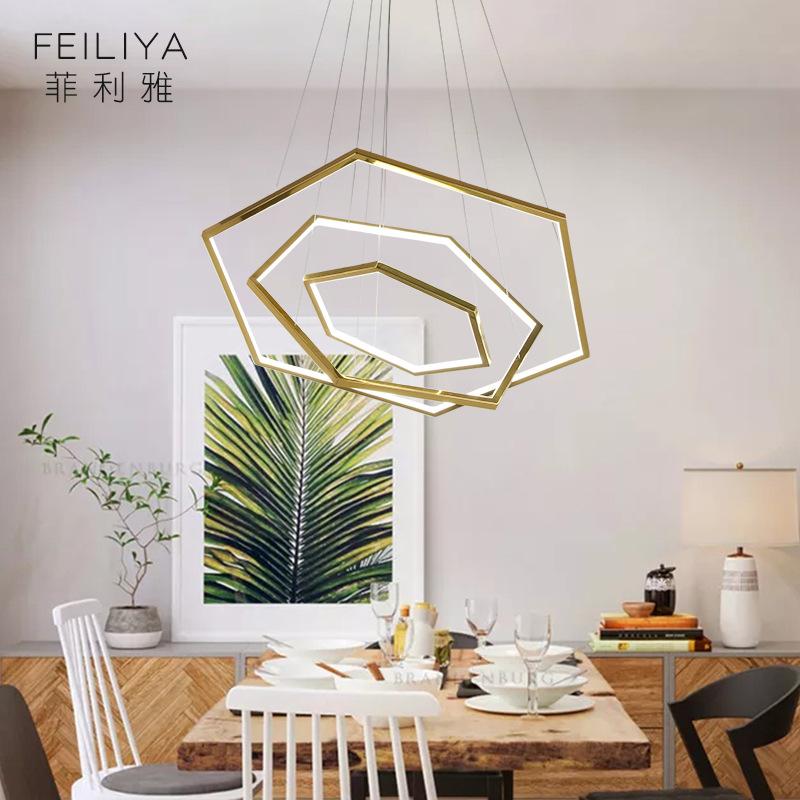 FEILIYA Simple polygon led chandelier post modern living room chandelier light luxury villa dining r
